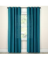 """Natural Solid Curtain Panel Turquoise (54""""x84"""") Threshold"""