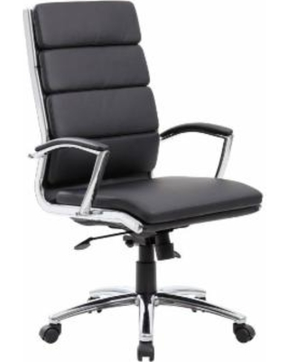 Boss Office Products B9471-BK Executive CaressoftPlus™Chair with Metal Chrome Finish