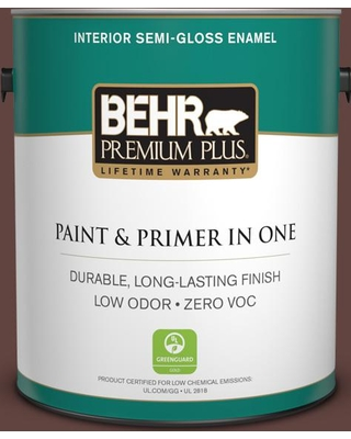 BEHR Premium Plus 1 gal. #MQ1-54 Death By Chocolate Semi-Gloss Enamel Low Odor Interior Paint and Primer in One