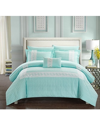 Chic Home Titian 8 Piece Comforter Hotel Collection Hexagon Embossed Paisley Print Border Design Bed in a Bag-Sheet Set Decorative Pillow Shams Included, King, Aqua