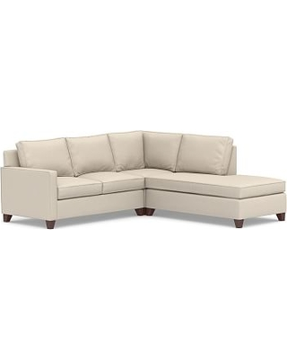 Cameron Square Arm Upholstered Left 3-Piece Bumper Sectional, Polyester Wrapped Cushions, Performance Chateau Basketweave Oatmeal