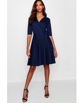 Womens Tall Wrap & Skater Dress - Navy - 10