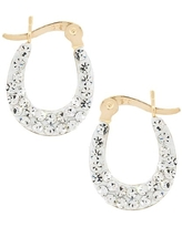 14K Solid Gold Clear Crystal Oval Hoop Earrings Made Wswarovski Elements