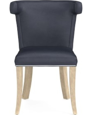 Regency Side Chair, Polished Nickel, Como Leather, Blue, Heritage Grey Leg