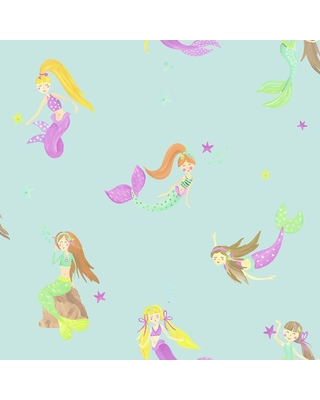 Arthouse Mermaid World Teal Wallpaper un-pasted, Green