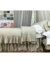 Natural Linen Duvet Cover with Mermaid Long Ruffle, Shabby Chic Bedding, Luxury Bedding Collections, White, Grey, Cream, Pink, Blue, Stripe, Chevron, over 40 color/patterns, Custom Size, Free Shipping