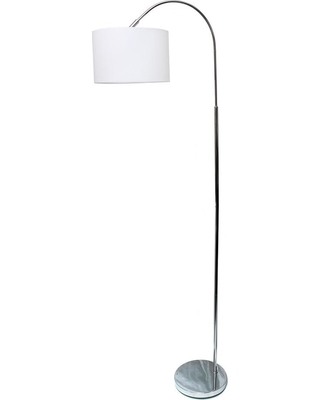 ALL THE RAGES Simple Designs 65.88 in. Arched Brushed Nickel Floor Lamp with White Shade