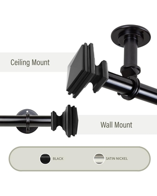 Rod Desyne Bedpost Ceiling 28 in. - 48 in., 1 in. Dia Single Curtain Rod/ Room Divider in Black