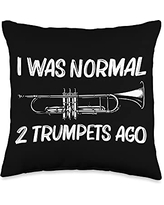 Funny Cornet Lover Musican Themed Designs Gift for Men Women Brass Band Trumpet Players Throw Pillow, 16x16, Multicolor