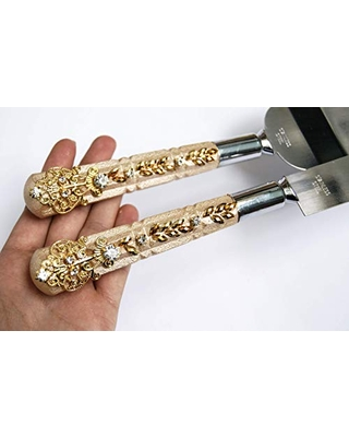 Amazing Sales On Ivory And Gold Cake Server For Wedding Cake Knife Set Crystal Cake Cutter And Server Set Engraved Cake Serving Set Cake Cutting Set