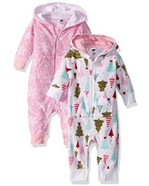 Hudson Baby Unisex Fleece Jumpsuits, Coveralls, and Playsuits, Sparkle Trees Baby, 0-3 Months