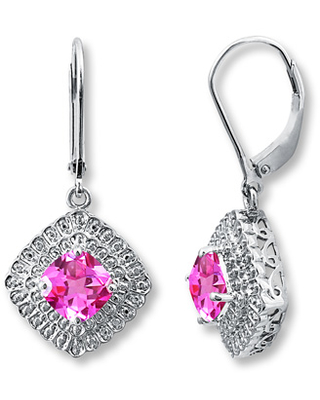 Lab-Created Sapphires Diamond Accents Sterling Silver Earrings