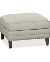 Addison Ottoman with Down Blend Cushion, Faux Suede, Solid, Stone
