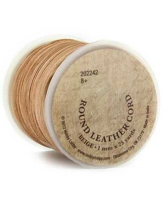 Beige Round Leather Cord Spool - 1mm