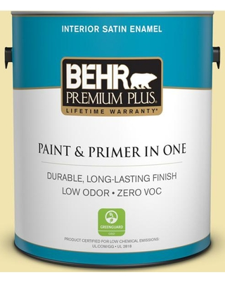 BEHR Premium Plus 1 gal. #P330-2 Lime Bright Satin Enamel Low Odor Interior Paint and Primer in One