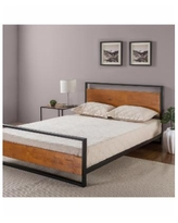Zinus Suzanne Metal and Wood Platform Bed with Headboard and Footboard, Twin - Chestnut Brown