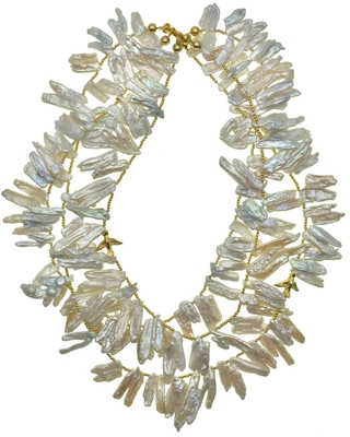 Farra - Leave Shaped Freshwater Pearls Triple Strands Necklace