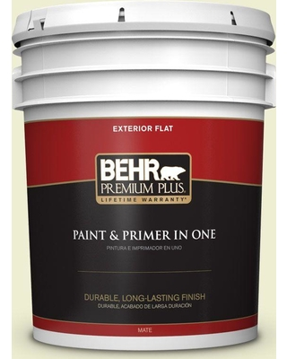 BEHR Premium Plus 5 gal. #410A-1 Monet Moonrise Flat Exterior Paint and Primer in One