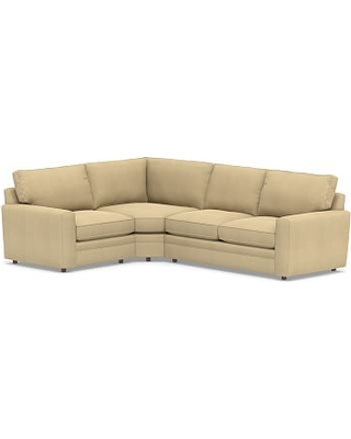 Pearce Square Arm Upholstered Right Arm 3-Piece Wedge Sectional, Down Blend Wrapped Cushions, Performance Everydaysuede(TM) Oat