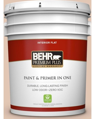 BEHR Premium Plus 5 gal. #S210-2 Tapestry Beige Flat Low Odor Interior Paint and Primer in One