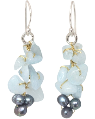 Handmade Silver 'Afternoon Sigh' Pearl Aquamarine Earrings (4 mm) (Thailand) - Blue (Solid)
