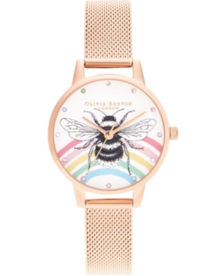 Olivia Burton Women's Iconic Bee Rose Gold-Tone Stainless Steel Mesh Bracelet Watch 30mm