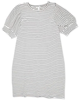 Amazon Brand - Daily Ritual Women's Supersoft Terry Relaxed-Fit Puff-Sleeve Dress, White-Black Stripe, X-Large