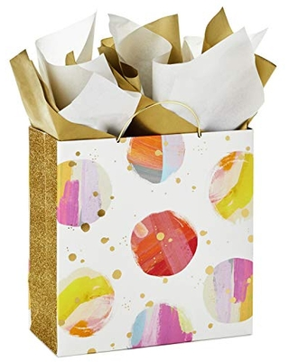 """Hallmark Signature 10"""" Large Gift Bag with Tissue Paper (Modern Watercolor Dots, Gold Glitter) for Mother's Day, Baby Showers, Bridal Showers, Weddings, Birthdays, Any Occasion"""