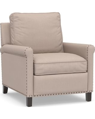 Tyler Roll Arm Upholstered Recliner with Bronze Nailheads, Down Blend Wrapped Cushions, Performance Heathered Tweed Desert