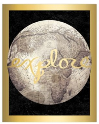 """""""Explore"""" Gold 16-Inch x 20-Inch Canvas Wall Art"""