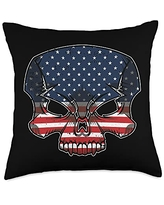 4th Of July Cloths Patriotic American Gifts Skull American Flag 4th Of July Cool Skeleton Patriotic Throw Pillow, 18x18, Multicolor