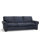 """Turner Roll Arm Leather Sofa 91"""", Down Blend Wrapped Cushions, Statesville Indigo Blue"""