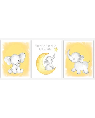 Yellow Elephant Baby Nursery Decor Watercolor Wall Art Shower Gift Set Of 3 UNFRAMED PRINTS