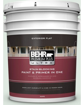 BEHR Premium Plus Ultra 5 gal. #460E-1 Meadow Light Flat Exterior Paint and Primer in One