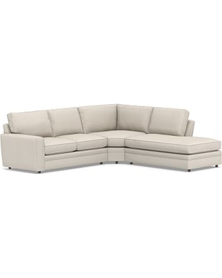 Pearce Square Arm Upholstered Left 3-Piece Bumper Wedge Sectional, Down Blend Wrapped Cushions, Performance Twill Stone