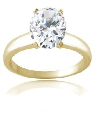 Icz Stonez Sterling Silver 4 1/3ct TGW Cubic Zirconia Engagement-style Ring (8 - Gold Plate)