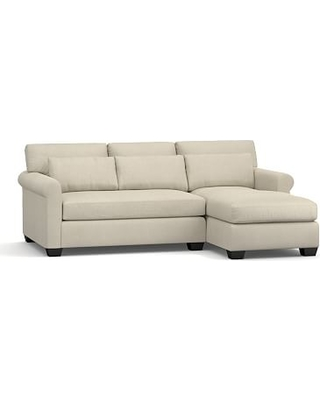 York Roll Arm Upholstered Deep Seat Left Arm Sofa with Chaise Sectional, Bench Cushion, Down Blend Wrapped Cushions, Premium Performance Basketweave Oatmeal