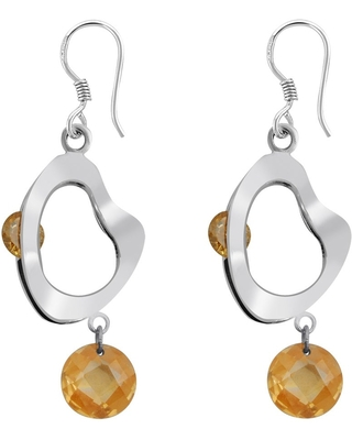 Cubic Zirconia Sterling Silver Round Dangle Earrings by Orchid Jewelry (Yellow - White)