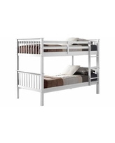 Walker Edison Solid Pine Wood Twin Over Twin Bunk Bed - White