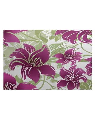 Simply Daisy, Tree Mallow, Floral Print Indoor/Outdoor Rug