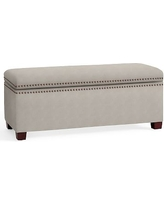 Tamsen Upholstered Storage Bench, Performance Slub Cotton Silver Taupe