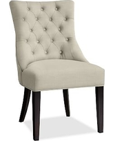 Hayes Tufted Dining Side Chair, Mahogany Frame, Premium Performance Basketweave Oatmeal