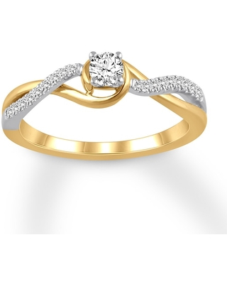 Diamond Engagement Ring 1/4 ct tw Round-cut 14K Two-Tone Gold