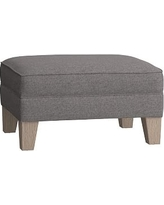 Modern Wingback Ottoman, Brushed Crossweave Charcoal