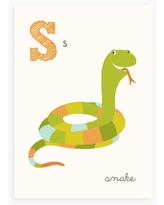 Sea Urchin Studio - S is for Snake - ABC Alphabet Wall Art for Kids