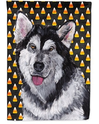 Alaskan Malamute Candy Corn Halloween Flag Canvas House Size