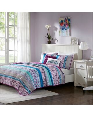 Purple Callie Printed Quilt Set (Twin/Twin XL) 4pc, Size: TWIN EXTRA LONG
