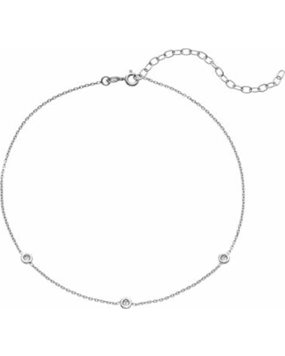 """Sterling Silver Cubic Zirconia Choker Necklace, Women's, Size: 13"", White"""