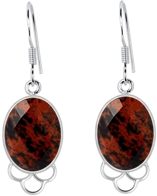 Mahogany Obsidian Sterling Silver Oval Dangle Earrings By Orchid Jewelry (Red - Obsidian)