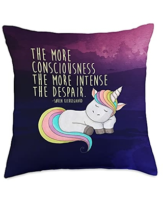 Cool for the Rapture Søren Kierkegaard Consciousness and Despair Quirky Unicorn Throw Pillow, 18x18, Multicolor